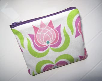 Small clutch bag or purse with Lotus flowers