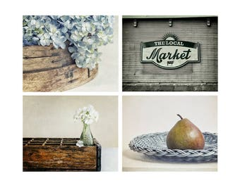 Farmhouse Kitchen Decor, Rustic Country Photography, Pale Blue, Teal Wall Art, Set of 4 Prints - SAVE 20%