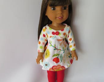 "Made To Fit Like 14.5"" Wellie Wishers Doll Clothes: Wellie Wishers Doll Leggings with Cotton Knit Dress; Dress for AG Wellie Wishers Doll"