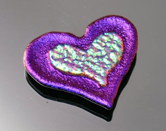 Dichroic Heart Tile, Dichroic Tile, Bright Glass Tile, Mosaic Accent Piece, Decorative Tile, Fused Tile, Glass Tile