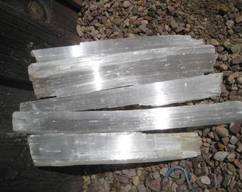 Selenite Fireplace logs - Kindling size -  FREE SHIPPING - 5 crystal Logs - all included