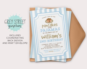 Pancakes and Pajamas Birthday Invitation, Little Boy Birthday Invitation, Custom DIY Printable Invitation