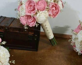 Wedding Bouquet, Sola wood Bouquet, vintage pink Bouquet, Alternative bridal Bouquet, blush Bouquet, Sola flowers, Wood Bouquet