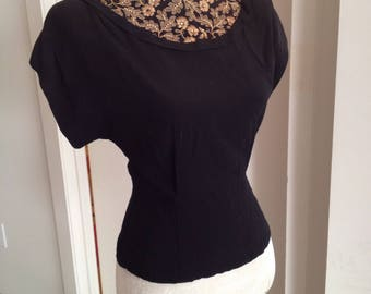 Forties crepe blouse, embroidered and bedazzled, hollywood noir hotness