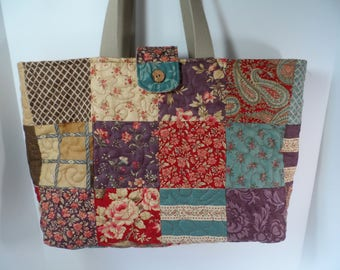 Large patchwork tote bag, one of a kind quilted bag with tablet pocket and button closure