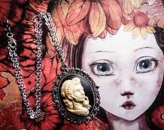 """Silver cameo woman necklace Mexican Sugar Skulls calavera Bohemian gypsy """"Dia de los Muertos"""""""