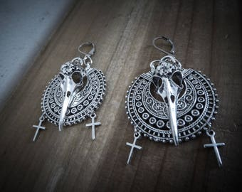 Small silver tribal hoop earrings * Moon Raven *.