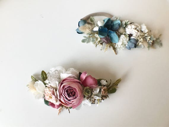 Pinks and Peacock fall floral crown headbands