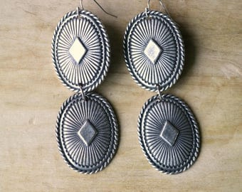 Vegas Western Concho Earrings, Statement Earrings, Southwest
