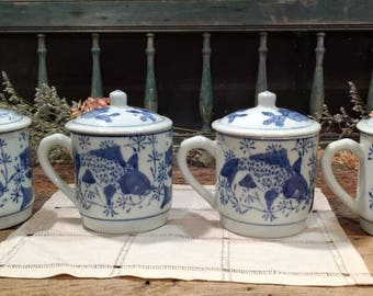 Vintage Set of Four / Lot / Lidded / Covered Tea Cups / Teacups / Blue and White / Chinese / Porcelain / Koi Fish