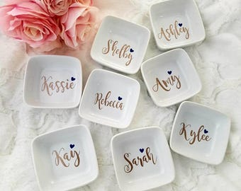 Personalized Ring Dish, Jewelry Dish, Bridesmaids Gift, Mother's Day Gift, Trinket Tray, Engagement Gift, Custom Ring Dish, Girlfriend Gift