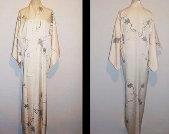 Vintage kimono - Maple leafs, Hand-painting, Damask silk