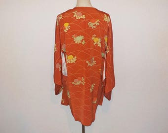 Vintage michiyuki - Dark orange, Chrysanthemum, Hand-Embroidery