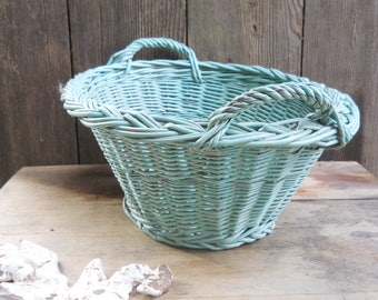 Vintage Small Cottage Laundry Willow Basket Miniature Turquoise Paint Industrial Laundry Farmhouse Clothesline French Country Primitive