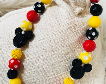 Mickey Mouse Red Black Yellow Bubblegum Bead Chunky Bead Necklace