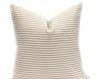 15% Off Sale Decorative Pillow , Tan Pillow Cover, Cream Pillow, Striped Pillow, Accent, Ticking pillow, Beige pillow, country pillow,  thro
