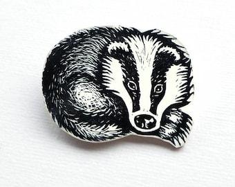 Badger Badge, Woodland Creature Brooch, Totem animal Lino Print Pin
