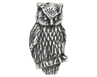 Danforth Owl 7/8 inch ( 23 mm ) Pewter Metal Button Antique Silver Color