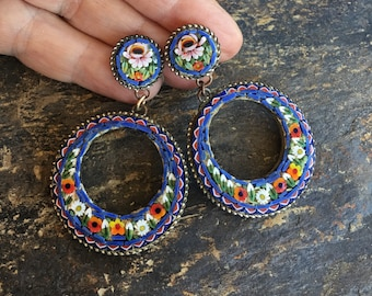 Blue Red Micro Mosaic Hoop Earrings Vintage Italy 1930 1940 MIcro Mosaic Glass Teardrop Dangles Romantic Bridal Vineyard Wedding