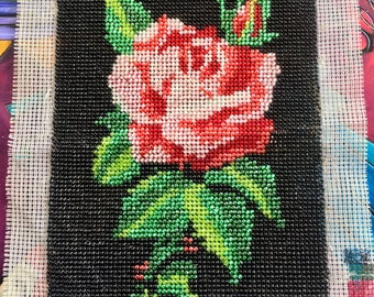 Beaded Rose Needlepoint Vintage 1970 Green Leaf Leaves Red Pink Glass Made in France