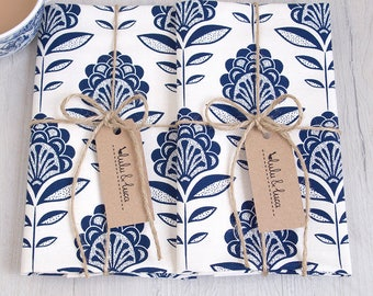Printed peacock flower tea towels set of 2 colour Blue