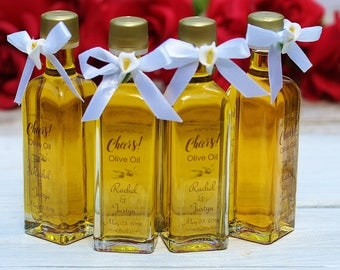 FREE SHIPPING 24 Olive Oil Favors Filled Olive Oil Favors 2oz Extra Virgin Olive Oil Favors Custom Labels Wedding Favors Calla Lily Bows