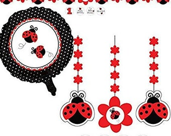Ladybug Theme Baby Shower; Ladybug Birthday Party; Ladybug Cutout Decorations Set; Lady bug Decorations; Lady bug Cutouts; Little Lady theme