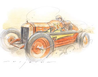 Advent Vintage Car Sketch - Pencil and Watercolour