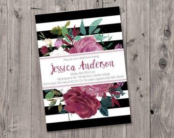 Printable Black and White Stripe Floral Bridal Shower Invitation