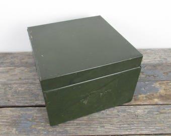 Industrial Metal Storage Box, Stash Box, Green Metal Box, Metal File Box, Office Storage Box, Vintage Recipe Box, Industrial Decor