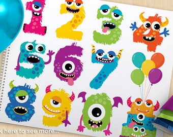 Alpha -  Monster numbers, cute monster clipart, Monster party, birthday Cake, balloons, commercial use, Vector Clip Art, SVG Cut files