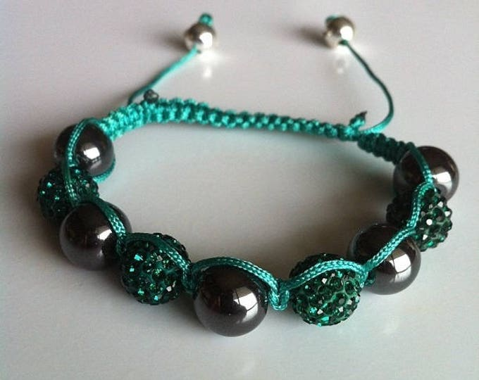 Adjustable Shamballa bracelet green and Hematite #03