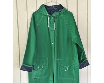 Green and Navy 'Aqua-Sheen' Raincoat. Size L