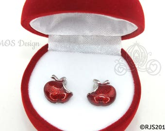 Disney Princess Snow White Red Apple Sterling Silver Earrings Swarovski Crystal Descendants with GIFT BOX