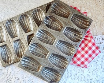 Pair of Antique French MADELEINE MOLDS, Cookie Baking Trays, Metal Baking Forms, 2 Tins for 10 Cookies.