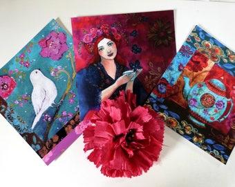 3 artwork postacrds, boho style ,bird,tea and women portrait