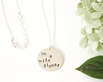 Wild Flower Large Stamped Coin Necklace