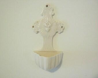 Vintage Belleek Sacred Heart Holy Water Font - Parian Porcelain - Irish Pottery - Irish Porcelain - Translucent Porcelain