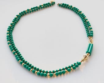 Vintage 1980s Green and Gold Bead Necklace/ Double Strand Necklace/ Vintage Jewelry/ Vintage Necklace/ 1980s Necklace/ Retro Necklace