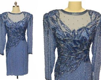 Vintage Jacqueline Ferrar Periwinkle Silk Evening Dress Encrusted w Rhinestones, Sequins & Beading glamorous dress blue dress beaded dress