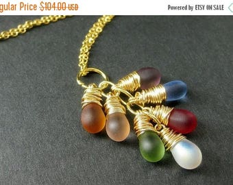 SUMMER SALE 14K Gold Fill Necklace. Wire Wrapped Cluster Pendant with Frosted Glass Teardrops. Handmade Jewelry.