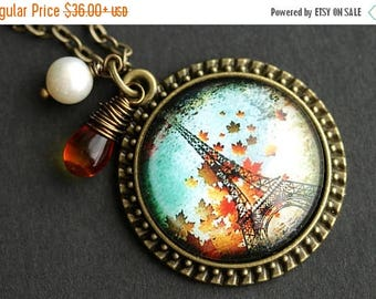 BACK to SCHOOL SALE Eiffel Tower Necklace. Paris in Autumn Pendant. Paris Necklace with Glass Teardrop and White Pearl. Fall in Paris Pendan