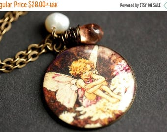 VALENTINE SALE Laughing Fairy Necklace. Pink Fairy Pendant with Pink Teardrop and Pearl. Handmade Charm Necklace. Bronze Necklace. Pink Neck