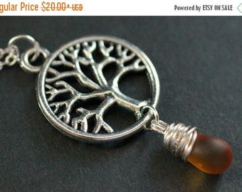 VALENTINE SALE Tree Necklace. Silver Tree of Life Necklace. Wire Wrapped Frosted Amber Teardrop Necklace. Handmade Jewellery.