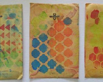 altered vintage manila envelopes 5x7.5 gelli prints art journal pages scrap book