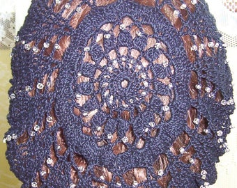"Sunny Morn Beaded on Every Row Snood in Cotton- Regular 8"" Length"