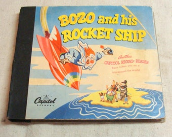 1947 Bozo and his Rocket Ship, Capitol Record Reader, two 45 records and childs read along book