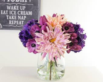 All Real Touch Pink Purple Poppies Dahlias Hydrangeas Arrangement Artificial Faux in Round Glass Vase for Home Decor