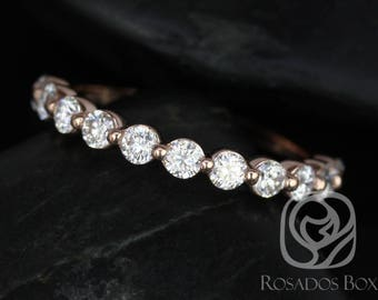 Rosados Box DIAMOND FREE Naomi 2.5mm 14kt Rose Gold Round F1 Moissanite HALFWAY Eternity Band