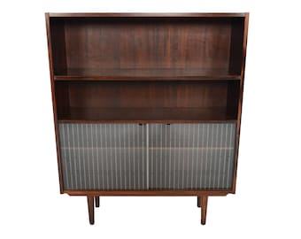 Danish Modern Mid Century Narrow Rosewood Bookcase with Etched Glass Doors